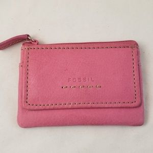 Fossil Pink Keychain ID Holder Coin Purse